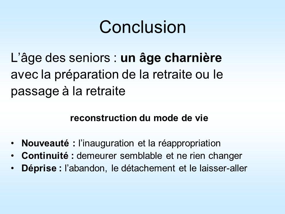 Conclusion Lâge des seniors : un âge charnière avec la préparation de la retraite ou le passage à la retraite reconstruction du mode de vie Nouveauté
