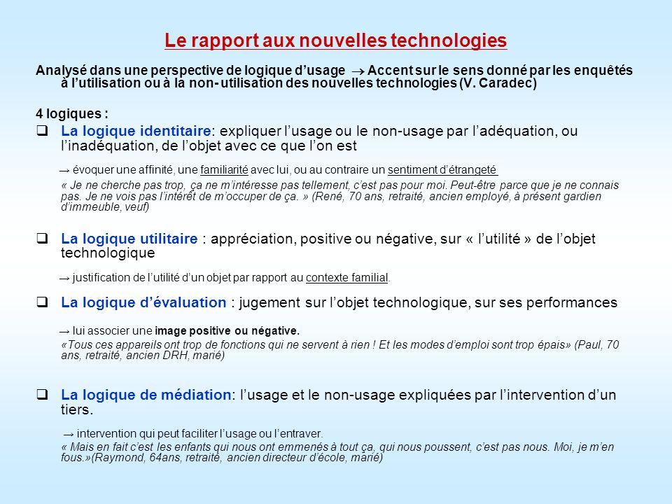 Le rapport aux nouvelles technologies Analysé dans une perspective de logique dusage Accent sur le sens donné par les enquêtés à lutilisation ou à la