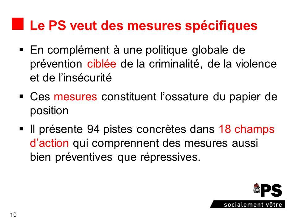 10 Le PS veut des mesures spécifiques En complément à une politique globale de prévention ciblée de la criminalité, de la violence et de linsécurité C
