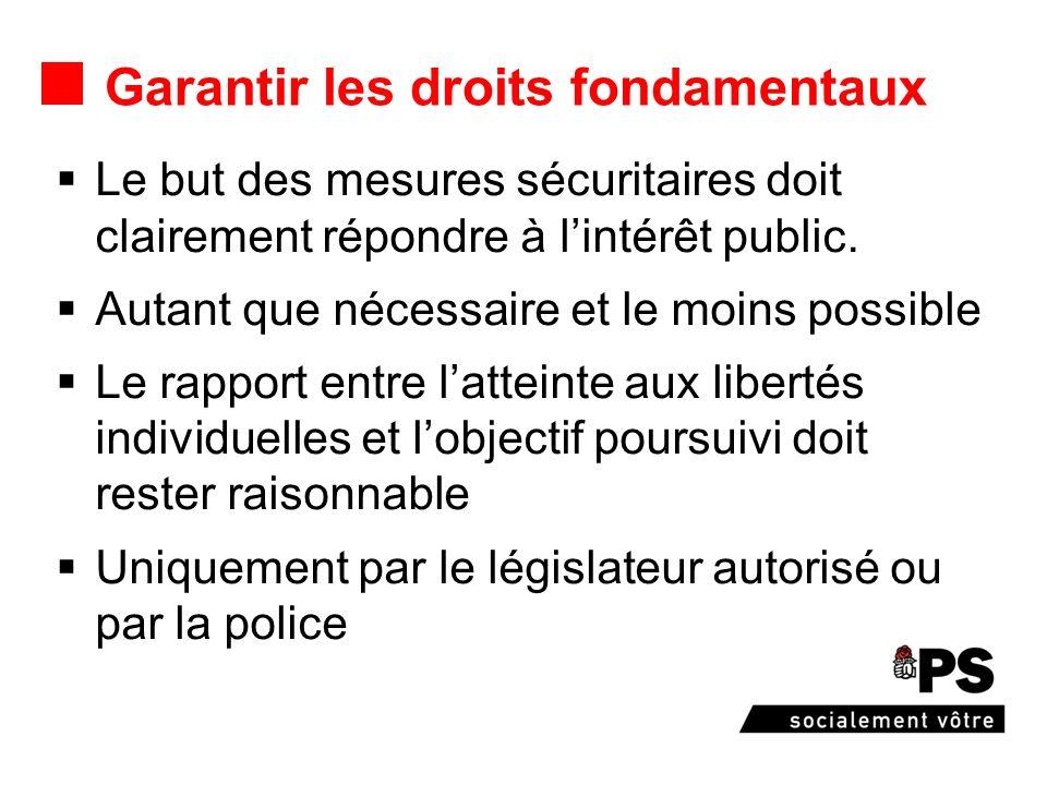 Garantir les droits fondamentaux Le but des mesures sécuritaires doit clairement répondre à lintérêt public. Autant que nécessaire et le moins possibl