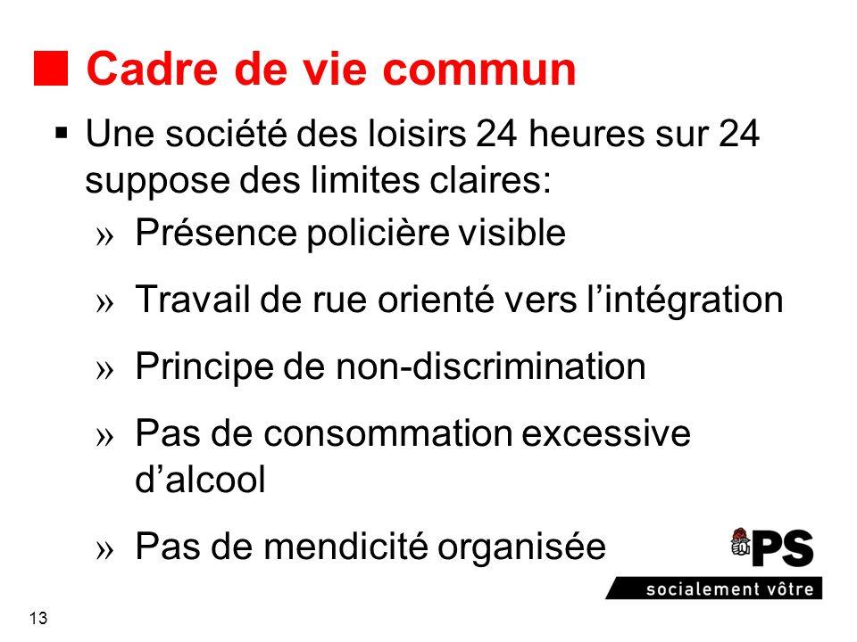 13 Cadre de vie commun Une société des loisirs 24 heures sur 24 suppose des limites claires: Présence policière visible Travail de rue orienté vers li