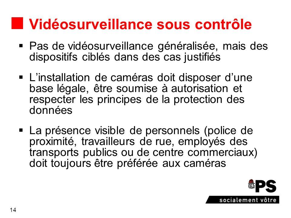 14 Vidéosurveillance sous contrôle Pas de vidéosurveillance généralisée, mais des dispositifs ciblés dans des cas justifiés Linstallation de caméras d