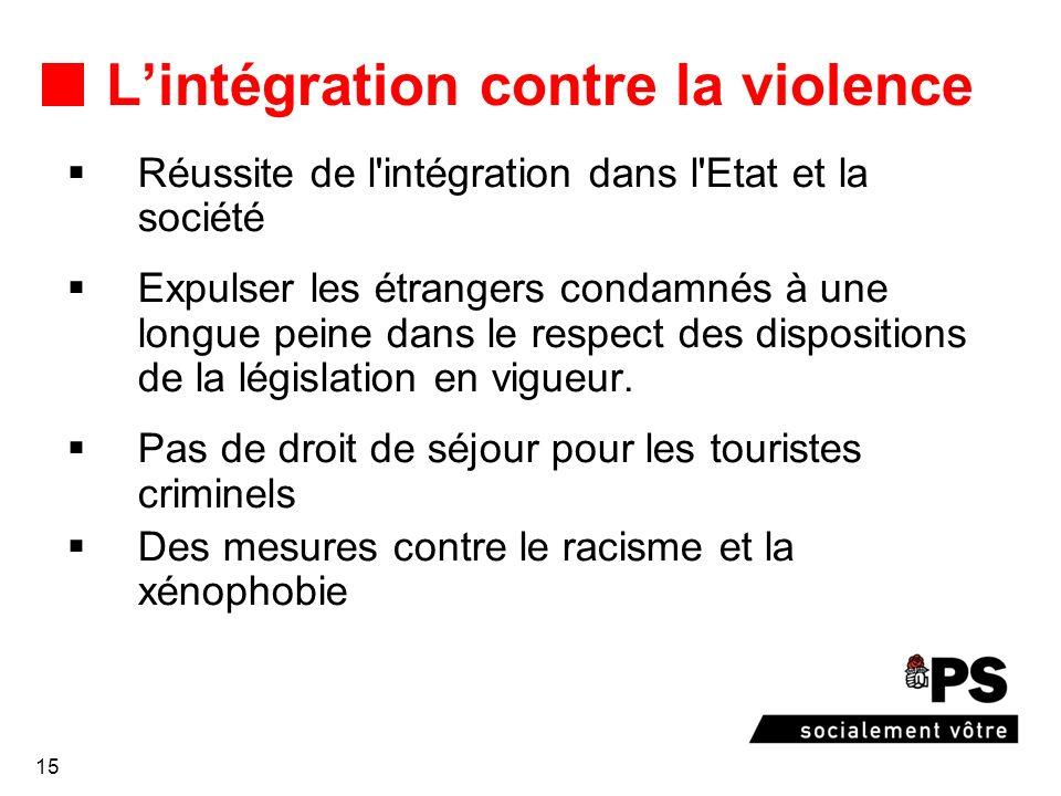 15 Lintégration contre la violence Réussite de l intégration dans l Etat et la société Expulser les étrangers condamnés à une longue peine dans le respect des dispositions de la législation en vigueur.