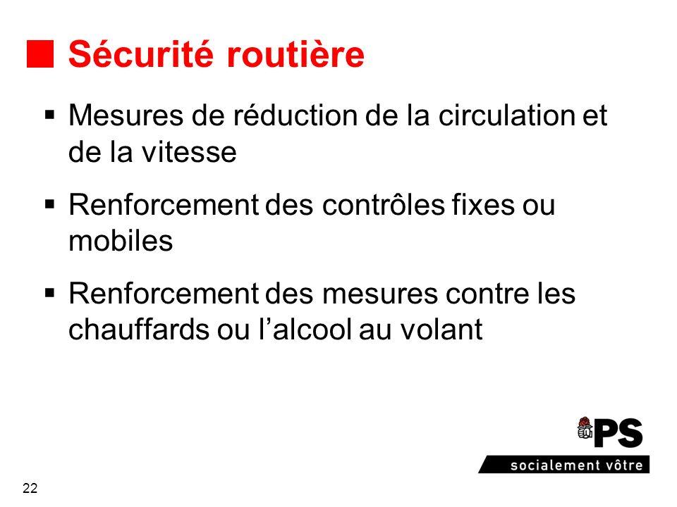 22 Sécurité routière Mesures de réduction de la circulation et de la vitesse Renforcement des contrôles fixes ou mobiles Renforcement des mesures contre les chauffards ou lalcool au volant