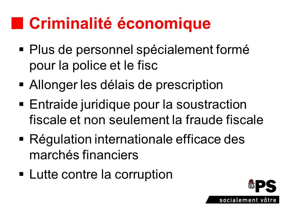 Criminalité économique Plus de personnel spécialement formé pour la police et le fisc Allonger les délais de prescription Entraide juridique pour la s