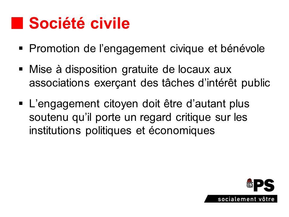 Société civile Promotion de lengagement civique et bénévole Mise à disposition gratuite de locaux aux associations exerçant des tâches dintérêt public