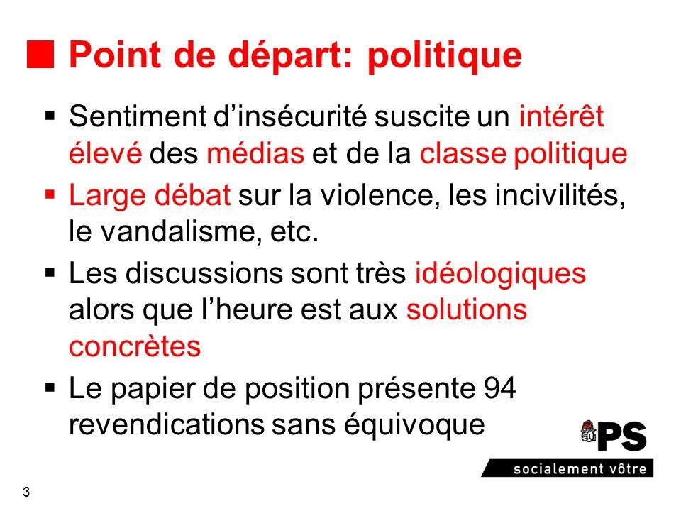 3 Point de départ: politique Sentiment dinsécurité suscite un intérêt élevé des médias et de la classe politique Large débat sur la violence, les incivilités, le vandalisme, etc.