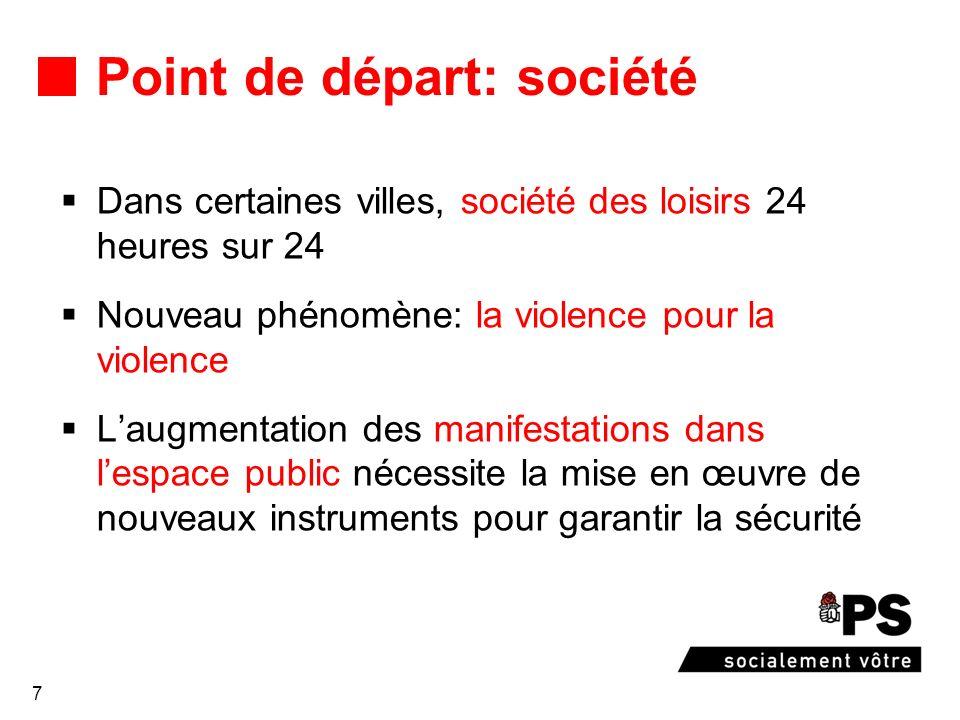 7 Point de départ: société Dans certaines villes, société des loisirs 24 heures sur 24 Nouveau phénomène: la violence pour la violence Laugmentation d