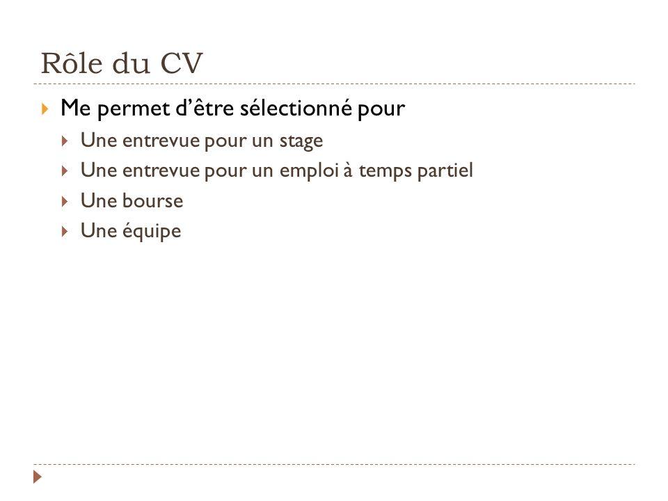 Rôle du CV Me permet dêtre sélectionné pour Une entrevue pour un stage Une entrevue pour un emploi à temps partiel Une bourse Une équipe