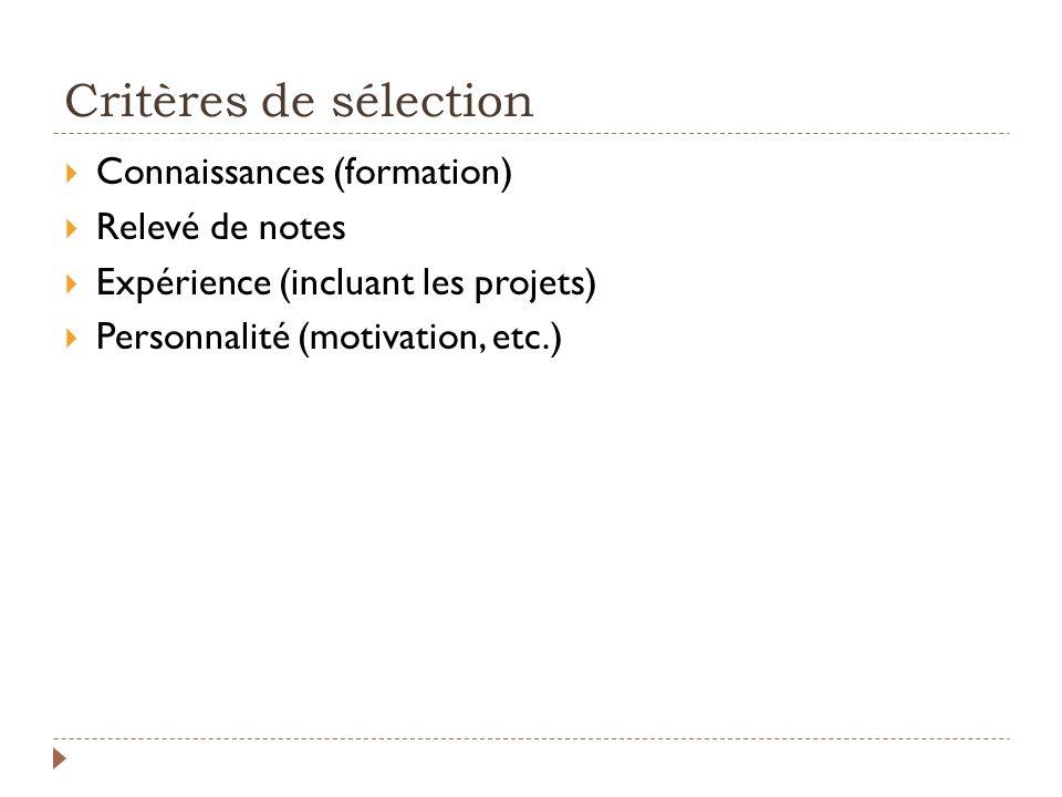 Critères de sélection Connaissances (formation) Relevé de notes Expérience (incluant les projets) Personnalité (motivation, etc.)