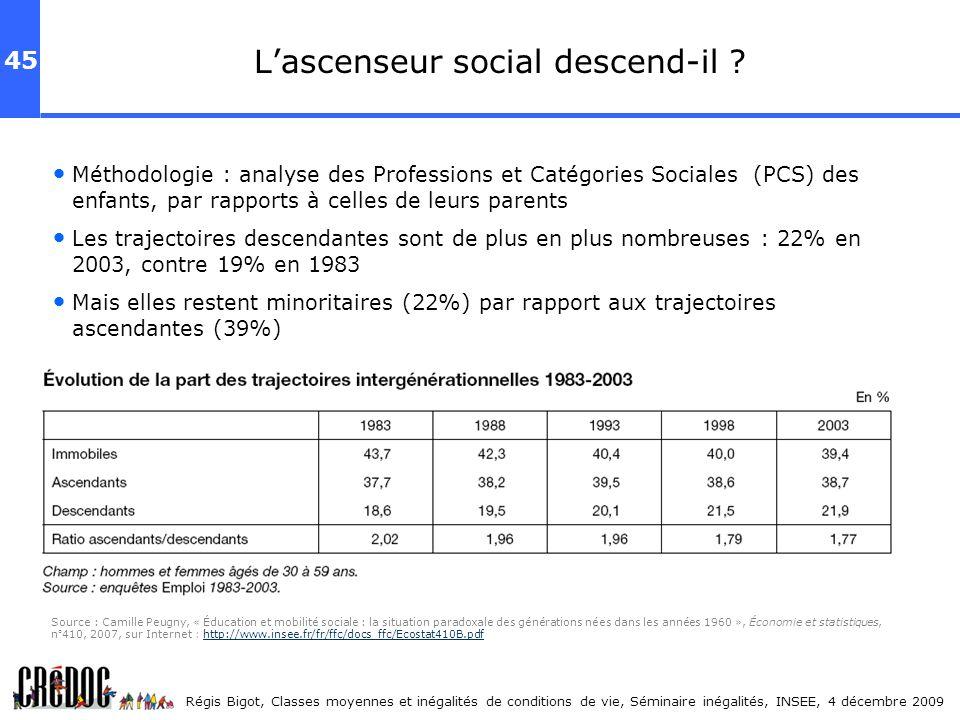 45 Régis Bigot, Classes moyennes et inégalités de conditions de vie, Séminaire inégalités, INSEE, 4 décembre 2009 Lascenseur social descend-il ? Métho