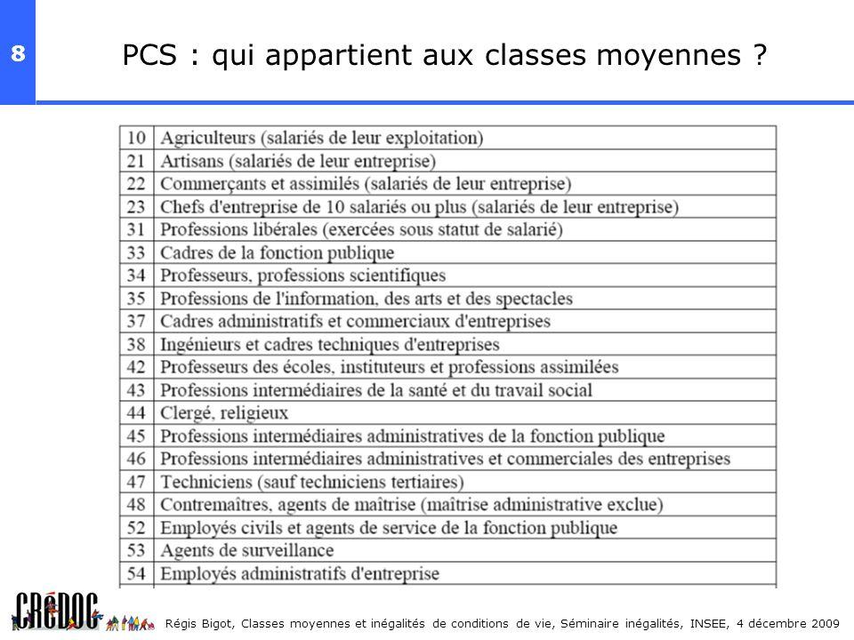 8 Régis Bigot, Classes moyennes et inégalités de conditions de vie, Séminaire inégalités, INSEE, 4 décembre 2009 PCS : qui appartient aux classes moye