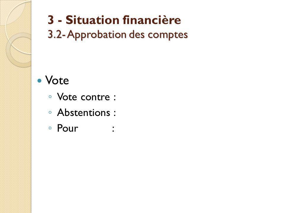 3.2- Approbation des comptes 3 - Situation financière 3.2- Approbation des comptes Vote Vote contre : Abstentions : Pour :