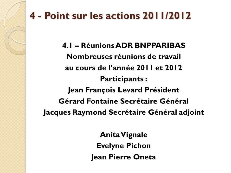 4 - Point sur les actions 2011/2012 4.1 – Réunions ADR BNPPARIBAS Nombreuses réunions de travail au cours de lannée 2011 et 2012 Participants : Jean F