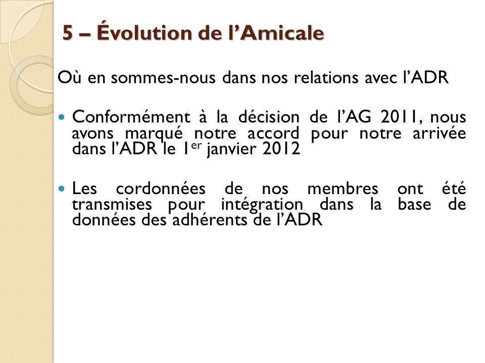 5 – Évolution de lAmicale Où en sommes-nous dans nos relations avec lADR Conformément à la décision de lAG 2011, nous avons marqué notre accord pour n