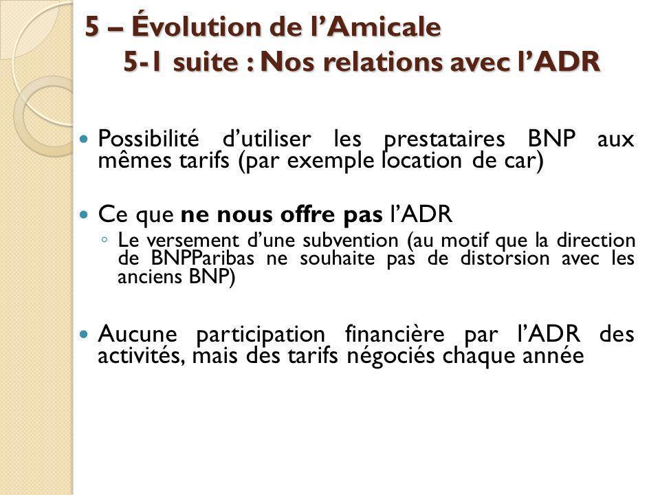 5 – Évolution de lAmicale 5-1 suite : Nos relations avec lADR Possibilité dutiliser les prestataires BNP aux mêmes tarifs (par exemple location de car