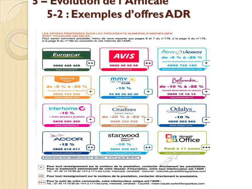 5 – Évolution de lAmicale 5-2 : Exemples doffres ADR
