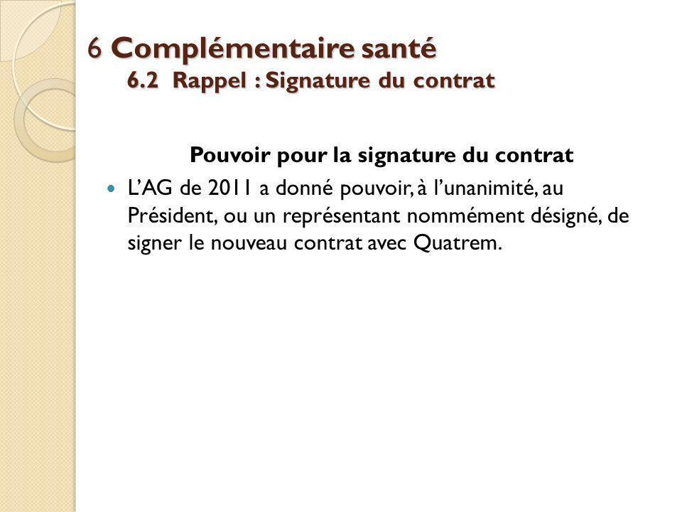 6 Complémentaire santé 6.2 Rappel : Signature du contrat Pouvoir pour la signature du contrat LAG de 2011 a donné pouvoir, à lunanimité, au Président, ou un représentant nommément désigné, de signer le nouveau contrat avec Quatrem.