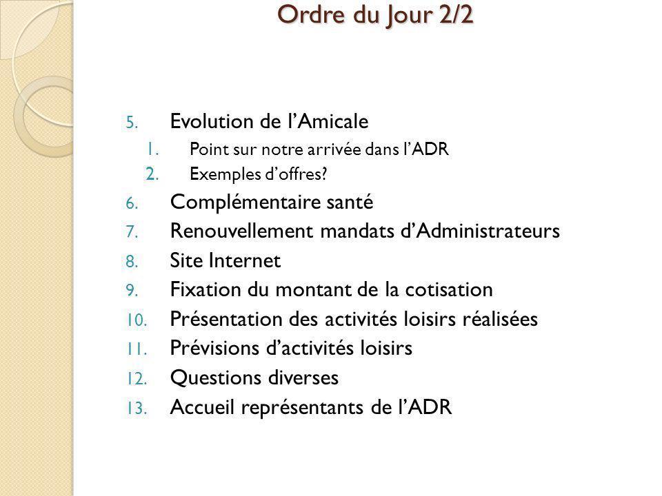 Ordre du Jour 2/2 5. Evolution de lAmicale 1.Point sur notre arrivée dans lADR 2.Exemples doffres? 6. Complémentaire santé 7. Renouvellement mandats d
