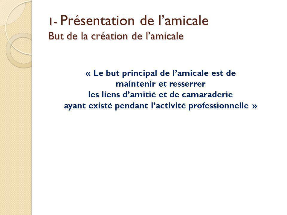 1- But de la création de lamicale 1- Présentation de lamicale But de la création de lamicale « Le but principal de lamicale est de maintenir et resser