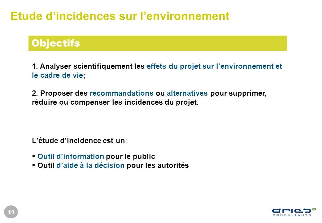 11 Etude dincidences sur lenvironnement 1. Analyser scientifiquement les effets du projet sur lenvironnement et le cadre de vie; 2. Proposer des recom