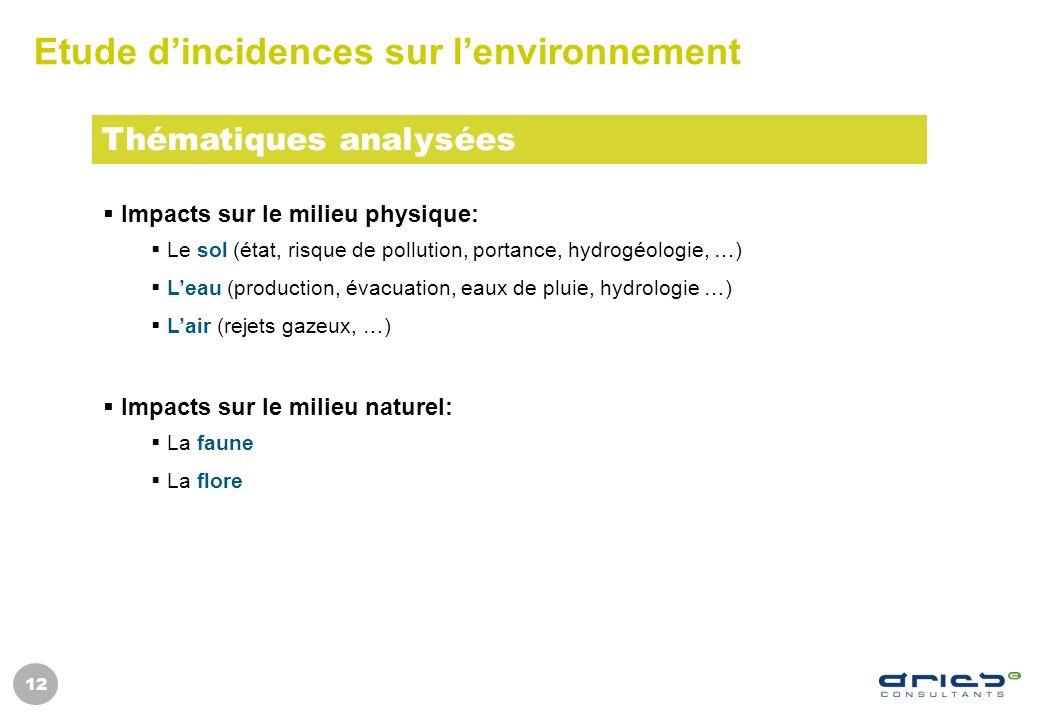 12 Etude dincidences sur lenvironnement Impacts sur le milieu physique: Le sol (état, risque de pollution, portance, hydrogéologie, …) Leau (productio