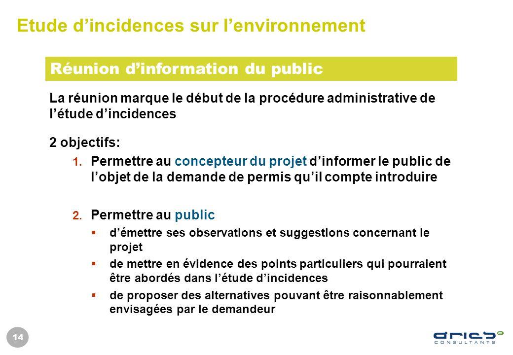 14 Etude dincidences sur lenvironnement La réunion marque le début de la procédure administrative de létude dincidences 2 objectifs: 1. Permettre au c