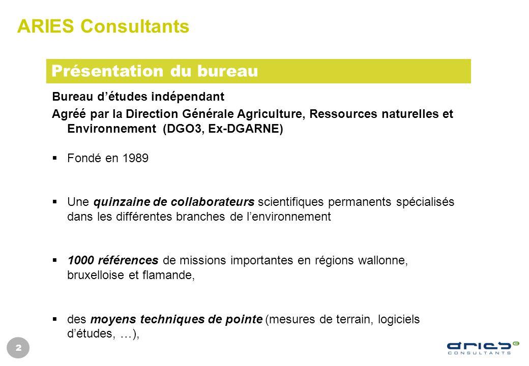 2 ARIES Consultants Bureau détudes indépendant Agréé par la Direction Générale Agriculture, Ressources naturelles et Environnement (DGO3, Ex-DGARNE) F