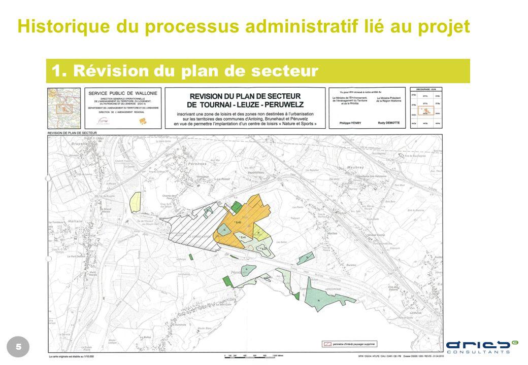 5 Historique du processus administratif lié au projet 1. Révision du plan de secteur