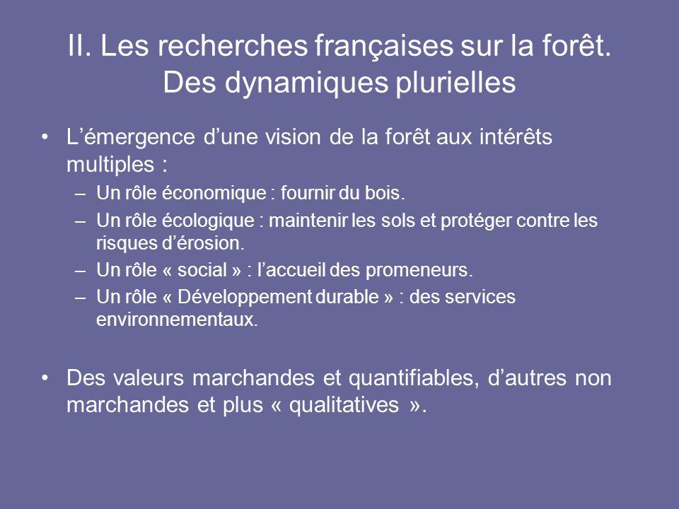 II. Les recherches françaises sur la forêt. Des dynamiques plurielles Lémergence dune vision de la forêt aux intérêts multiples : –Un rôle économique