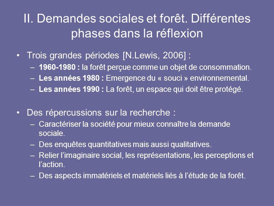 II. Demandes sociales et forêt. Différentes phases dans la réflexion Trois grandes périodes [N.Lewis, 2006] : –1960-1980 : la forêt perçue comme un ob