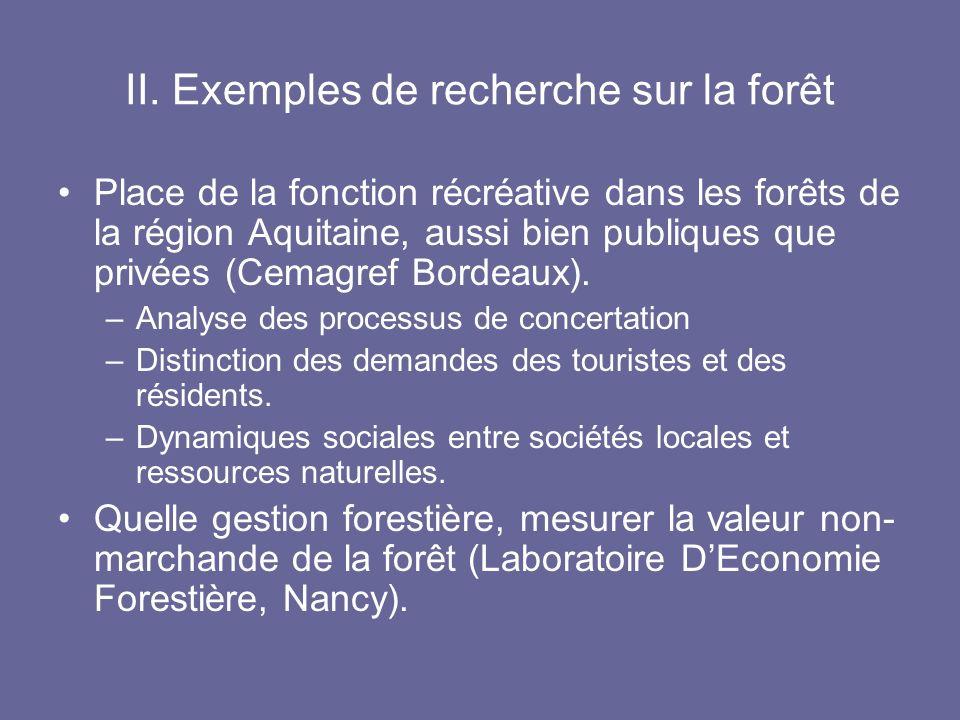 II. Exemples de recherche sur la forêt Place de la fonction récréative dans les forêts de la région Aquitaine, aussi bien publiques que privées (Cemag