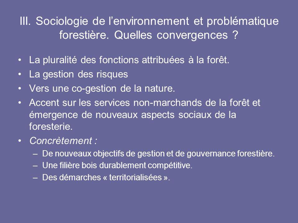 III. Sociologie de lenvironnement et problématique forestière. Quelles convergences ? La pluralité des fonctions attribuées à la forêt. La gestion des