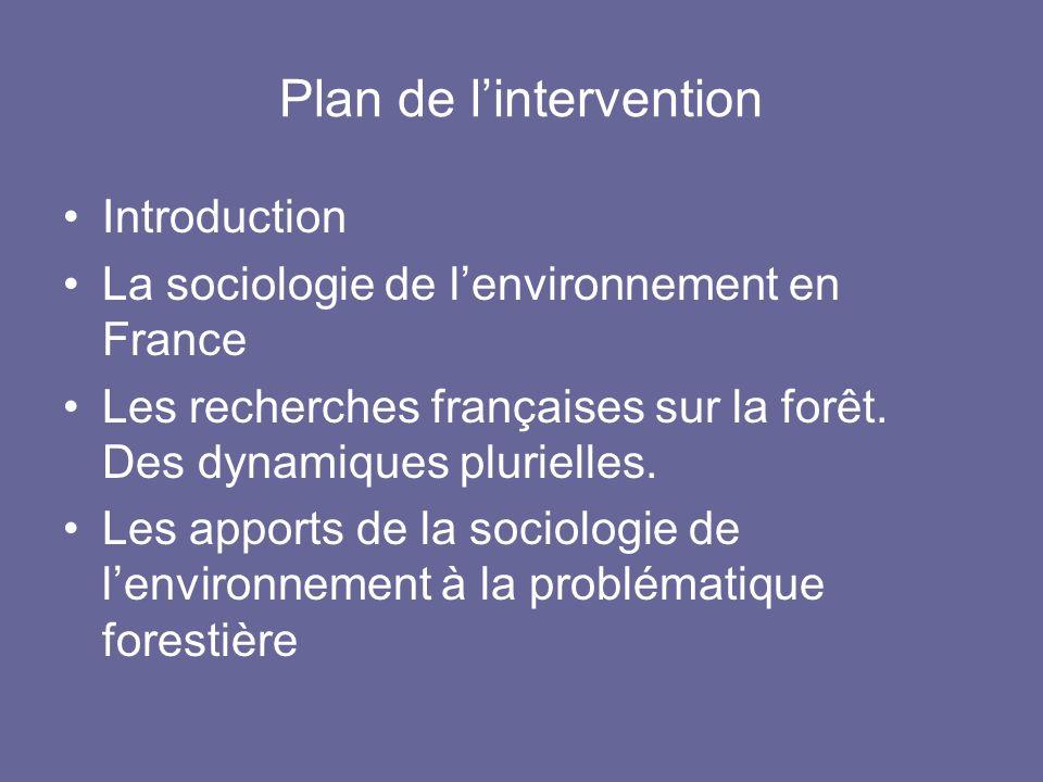 Plan de lintervention Introduction La sociologie de lenvironnement en France Les recherches françaises sur la forêt. Des dynamiques plurielles. Les ap