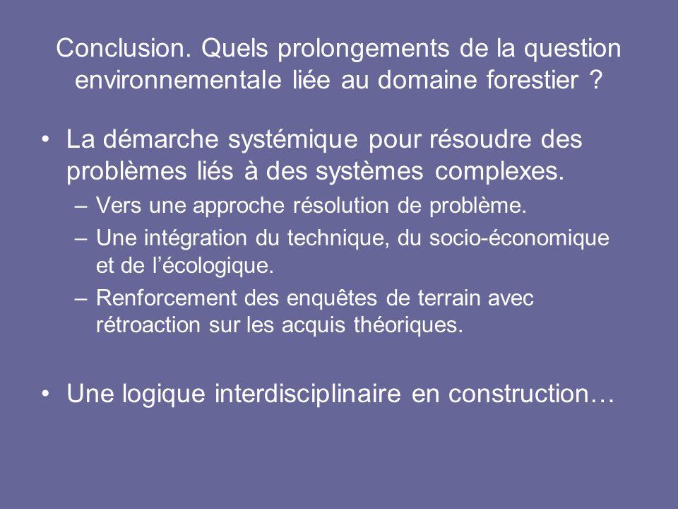 Conclusion. Quels prolongements de la question environnementale liée au domaine forestier ? La démarche systémique pour résoudre des problèmes liés à