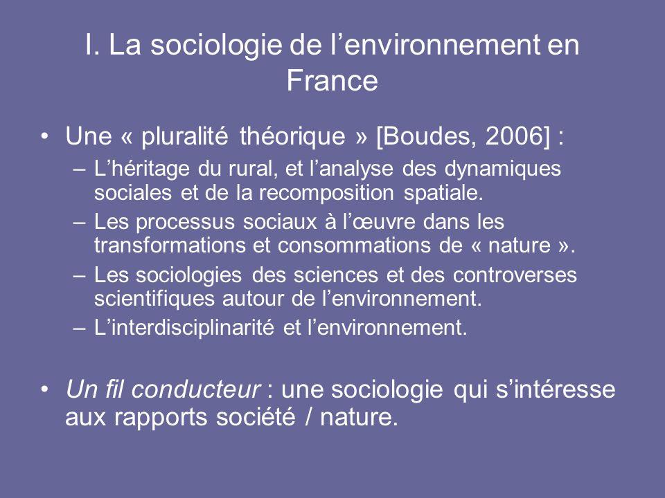 I. La sociologie de lenvironnement en France Une « pluralité théorique » [Boudes, 2006] : –Lhéritage du rural, et lanalyse des dynamiques sociales et