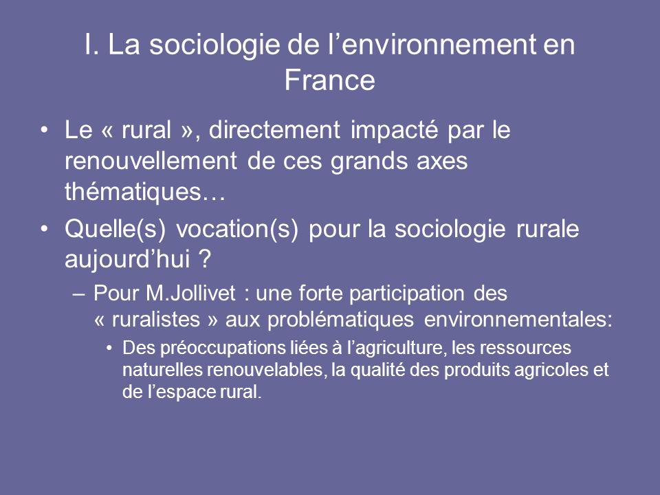 I. La sociologie de lenvironnement en France Le « rural », directement impacté par le renouvellement de ces grands axes thématiques… Quelle(s) vocatio