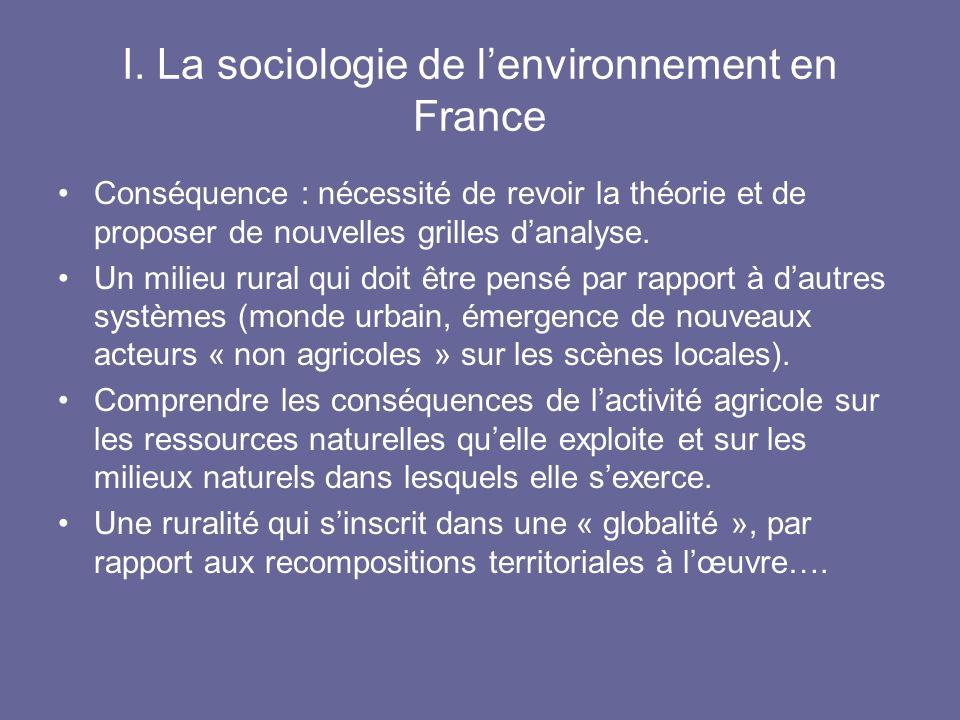 I. La sociologie de lenvironnement en France Conséquence : nécessité de revoir la théorie et de proposer de nouvelles grilles danalyse. Un milieu rura