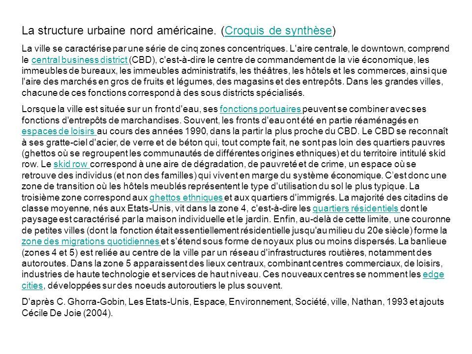 La structure urbaine nord américaine. (Croquis de synthèse)Croquis de synthèse La ville se caractérise par une série de cinq zones concentriques. L'ai