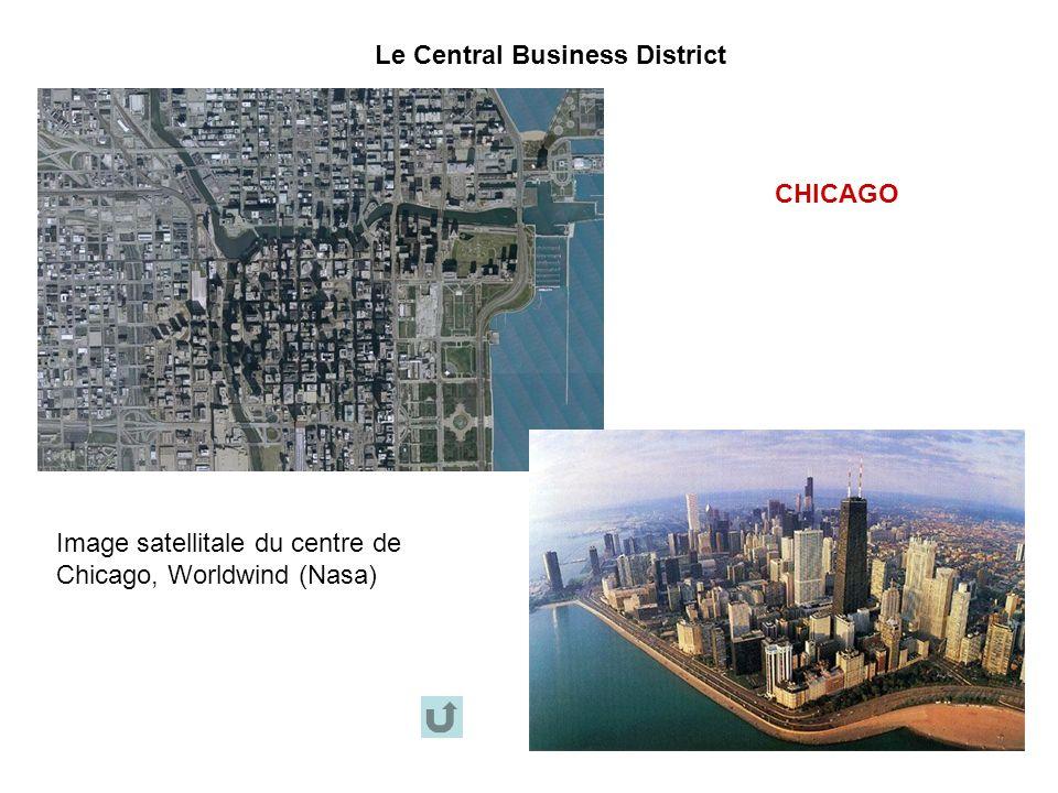 Le Central Business District CHICAGO Image satellitale du centre de Chicago, Worldwind (Nasa)
