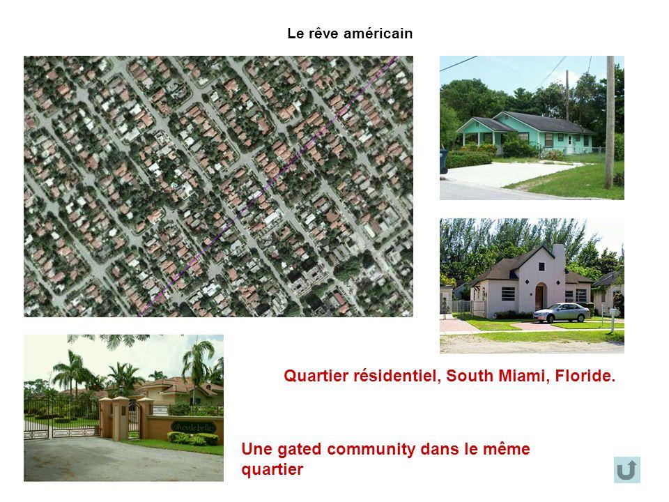 Le rêve américain Quartier résidentiel, South Miami, Floride. Une gated community dans le même quartier