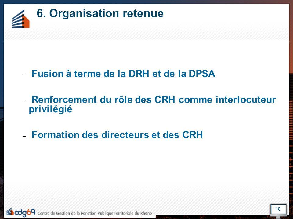 6. Organisation retenue – Fusion à terme de la DRH et de la DPSA – Renforcement du rôle des CRH comme interlocuteur privilégié – Formation des directe