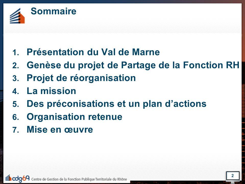 Sommaire 1. Présentation du Val de Marne 2. Genèse du projet de Partage de la Fonction RH 3. Projet de réorganisation 4. La mission 5. Des préconisati