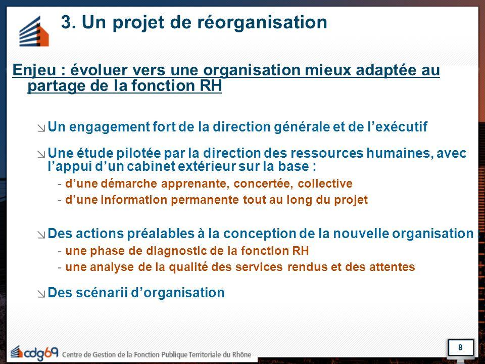 8 3. Un projet de réorganisation Enjeu : évoluer vers une organisation mieux adaptée au partage de la fonction RH Un engagement fort de la direction g