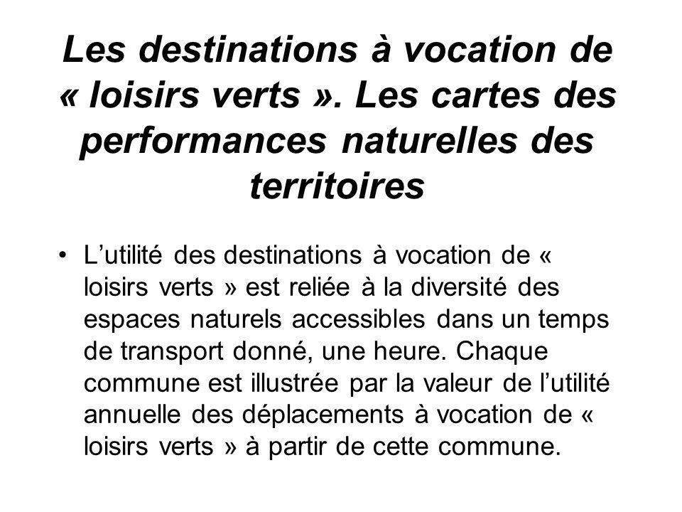 Les destinations à vocation de « loisirs verts ».