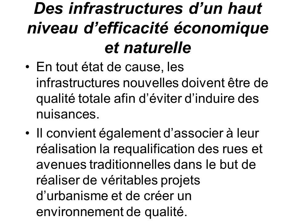 Des infrastructures dun haut niveau defficacité économique et naturelle En tout état de cause, les infrastructures nouvelles doivent être de qualité totale afin déviter dinduire des nuisances.