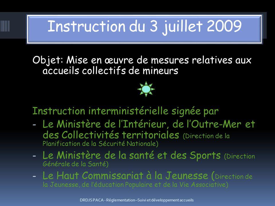 Objet: Mise en œuvre de mesures relatives aux accueils collectifs de mineurs Instruction interministérielle signée par - Le Ministère de lIntérieur, d