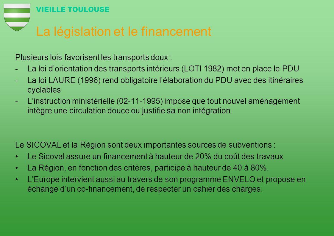 La législation et le financement Plusieurs lois favorisent les transports doux : -La loi dorientation des transports intérieurs (LOTI 1982) met en pla