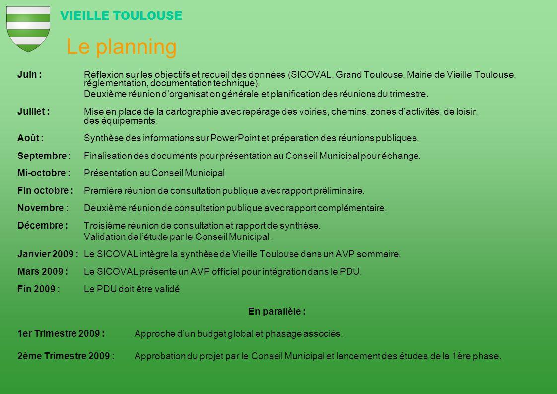 Le planning Juin : Réflexion sur les objectifs et recueil des données (SICOVAL, Grand Toulouse, Mairie de Vieille Toulouse, réglementation, documentat
