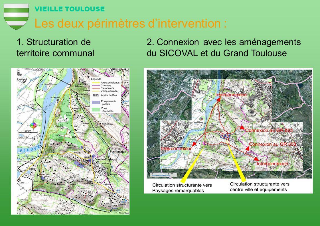 Les deux périmètres dintervention : 1. Structuration de territoire communal 2. Connexion avec les aménagements du SICOVAL et du Grand Toulouse